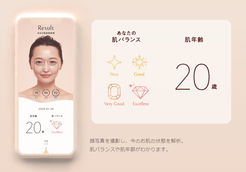 ONE BY KOSÉの「One Skin Check」のイメージ画面