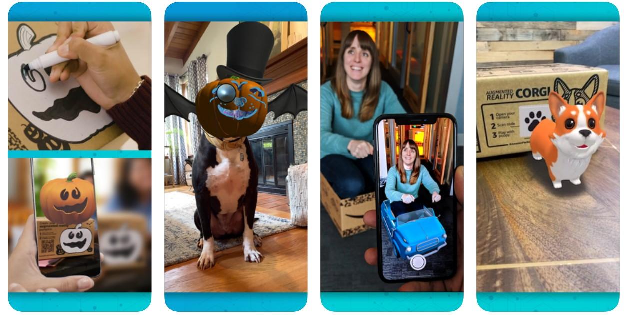 AmazonがARアプリをリリース !配送ダンボールからカボチャや犬が出現
