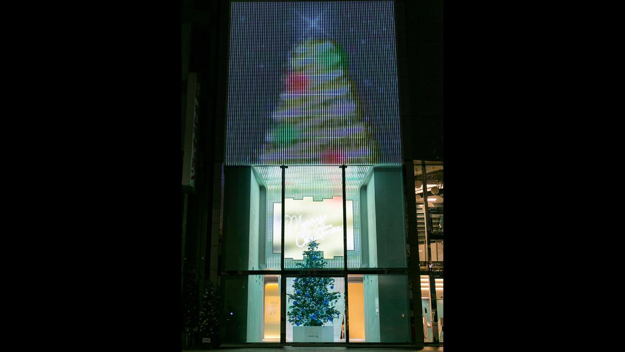 AR演出とイルミネーションの連動で大きなクリスマスツリーが出現!「GINZA456 みんなのXmas」が開催