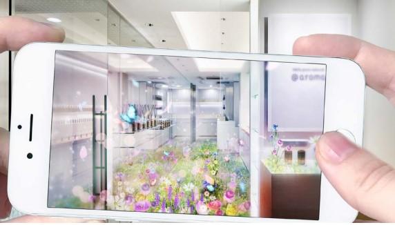 店内にARの花畑が出現! @aroma神宮前店でリアルとバーチャルが融合した新しいアロマ空間を体験