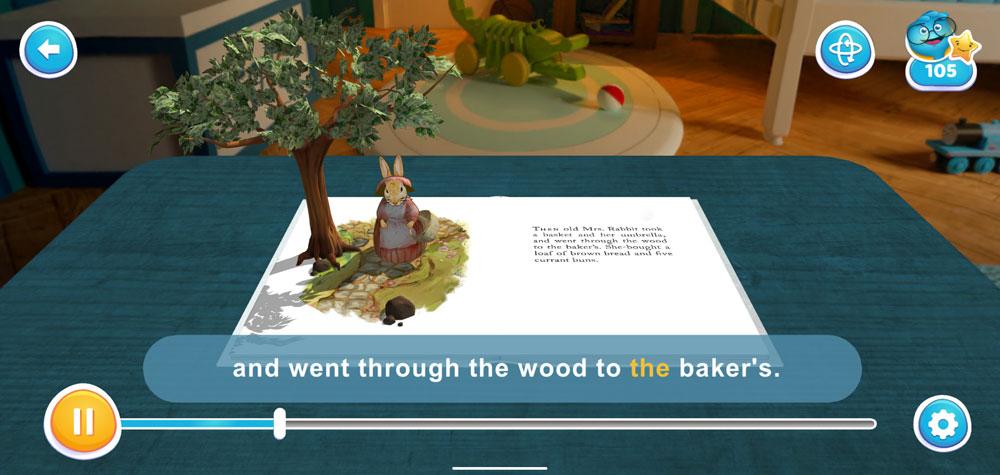 AR/3Dで楽しめる英語図書アプリ「ARマジカルライブラリー」 絵本のキャラクターと写真撮影もできる