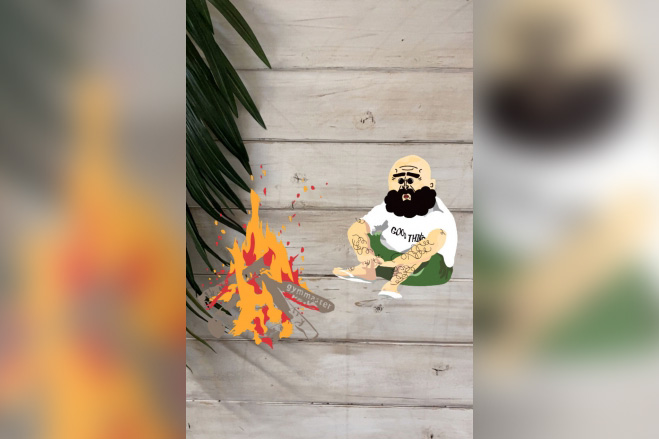 『焚き火キャンプAR』で自宅にいながらアウトドアを楽しめる!AR写真投稿で人気Tシャツが当たるキャンペーンも開催