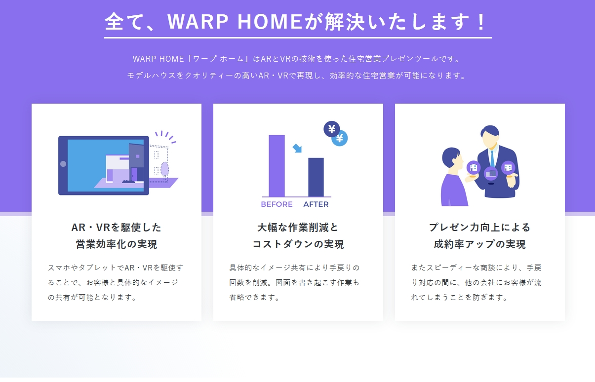 「WARP HOME」利用イメージ